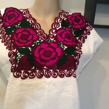 Mexican Floral Embroidered Top Blouse Colorful - Zina Purple Pink