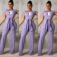 Champion Popular Women Personality Print Short Sleeve Top Pants Set Two-Piece Purple