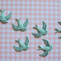 Retro Green Bird Cabochons 12pc