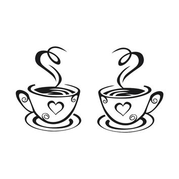 New Arrival Beautiful Design Coffee Mugs Tea Coffee Art Decal Vinyl Wall Stickers Kitchen Restaurant Pub Decor