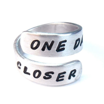 ONE DAY CLOSER - Deployment Jewelry - Long Distance Relationship, wrap ring, miles apart ring, love ring, twist ring, Long Distance