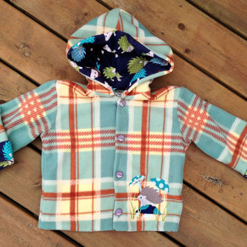 Children's Jacket Hoodie ( Handmade Flannel Lined Plaid Fleece Hedge Hog Jacket with Horse buttons and Hood ) -  Children's Hoodie Size 4