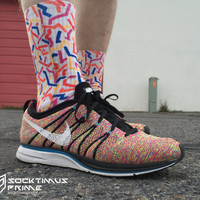 90's squiggle - Custom Sublimated Socks - Socktimus Prime