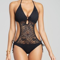 Polo Ralph Lauren Crochet Monokini One Piece Swimsuit | Bloomingdales's