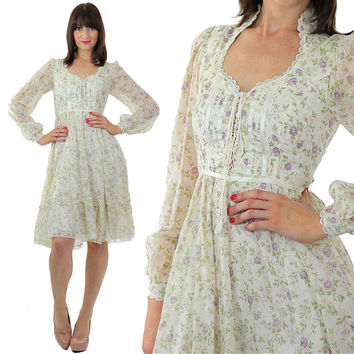 Gunne Sax Dress Vintage 70s Boho Dress Hippie Dress Floral Dress Boho Bridal Dress Peasant Dress Bohemian Dress Sheer Dress Lace Dress