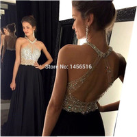 Sexy A-Line Black Prom Dress 2017 Long Halter Beaded Backless vestidos de fiesta Formal Evening Gown Party Pageant Dresses