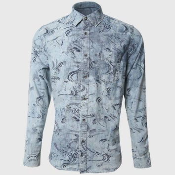3D Fish Print Men Shirts Denim Long Sleeve Casual Shirts Painted Printed Types Designer Vintage Cowboy Western Young Man