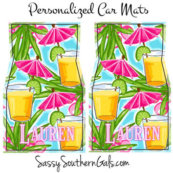 Monogrammed Lilly Pulitzer Inspired Car Floor Mats, Monogrammed Car Accessories, Monogrammed Car Floor Mats, Monogrammed Gift, Beach Chair