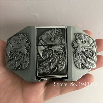 Retail New Style High quality 3D Silver Eagle lighter Men's Belt Buckles With Metal Cowboy Belt Head Jewelry Fit 4cm Wideth Belt