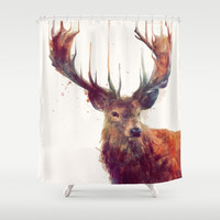Red Deer // Stag Shower Curtain by Amy Hamilton