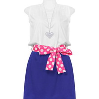 White and Blue with Polka Belt Dress