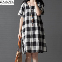 Womens Summer Check Plaid Round Neck Short Sleeve Pockets Casual Loose Tunic Mini Dress Vestido Plus Size