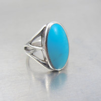 Vintage Native American Turquoise Ring, Oval Sterling Silver Sleeping Beauty Turquoise Cabochon, Native American Turquoise Jewelry Size 6