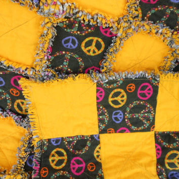 Peace Rag Quilt Lap Size - Brown and Gold  Peace Symbol Flannel  - by Sew Fun Quilts