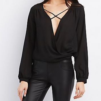 STRAPPY SURPLICE BLOUSE