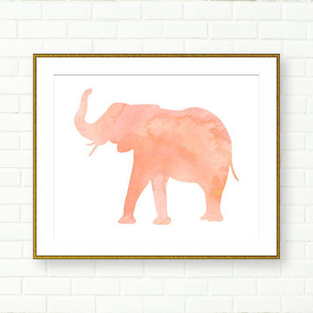 Elephant Print, Girl Nursery Prints, Watercolor Elephant, Pink Peach, INSTANT DOWNLOAD, Safari Nursery, Modern, Pastel, Instant PRINTABLE