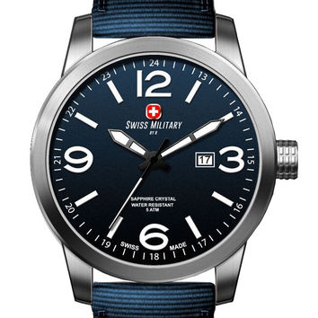 Swiss Military by R 50504 3 BU Sniper Men's Watch Blue Nylon Band Blue Dial
