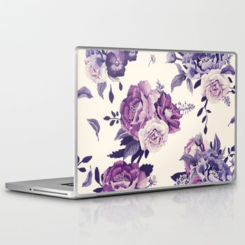Purple floral boho pattern Laptop & iPad Skin by printapix