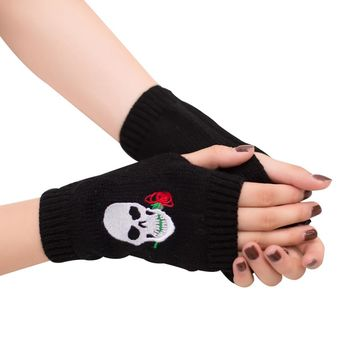 Women's Rose Skull Embroidery Warm Knitted Half Finger Fingerless Gloves