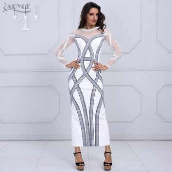 Adyce Fashion Women Winter Luxury Gown Maxi Dress White Long Sleeve Diamonds Studded Mesh Vestidos Evening Party Dresses