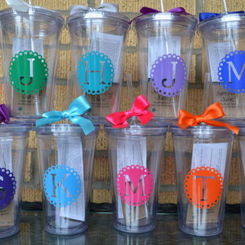 9 - Bridesmaid Cups Tumblers Gift  - Set of 9 - Monogrammed Initial Tumblers  - Bridesmaids Gifts - Custom Letter/Colors -