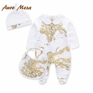 Autumn Winter Fashion Brand Baby Set Map Print Baby rompers baby Boy Girl clothes Newborn Romper Infant Jumpsuit+Bib+Hat