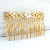 Vintage Style Hair Comb, Gold Hair Piece, Vintage Style Hair Comb, Wedding Hair Comb, Hair Accessories, Pearl Hair Comb