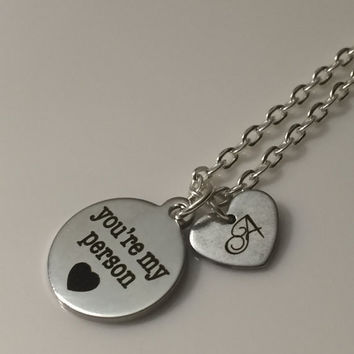 You're My Person, You Are My Person, Quote Necklace, Quote Jewelry, Engraved Necklace, Engraved Jewelry, Gift for Her, Girlfriend Gift