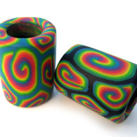 Two dreadlock beads with psychadelic millefiori spirals, handmade from polymer clay, medium to large size, one of a kind hippie hair beads