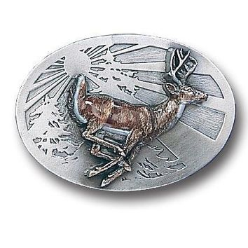 Sports Accessories - Whitetail Deer Enameled Belt Buckle