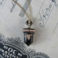 LOVELY black onyx and 14k gold mourning necklace, pendant necklace, antique Victorian onyx point and seed pearl gothic necklace.