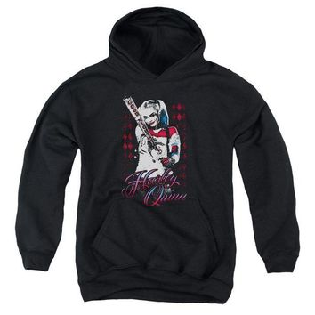 ac spbest Suicide Squad - Harleys Bat Youth Pull Over Hoodie
