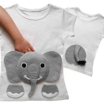 elephant shirt, kids clothes, toddler gift, toddler clothes, baby clothes, girl toddler, boy toddler, childrens clothes, girls tops, pocket