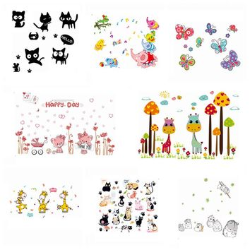 Zs Sticker Safari Wall Stickers Jungle Wall Decor Kids Room Home Decoration Animals Decal Nursery Mural Children