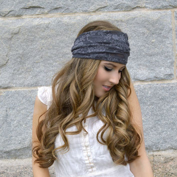 Charcoal Lace Headband Stretchy Wide Lacy Head Band