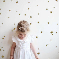 Gold star wall decals, star wall stickers, nursery wall decal, gold confetti stars