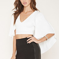 Cape-Overlay Crop Top