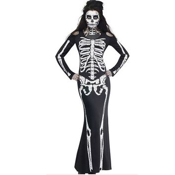 Halloween Ghost Printing Dress Female o-neck long Sleeve Dresses  Horror Skeleton Costume Holiday Party Club DressVestidos #15T