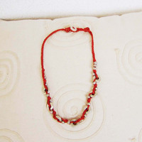 Vintage hippie necklace, red cord and sterling silver, Indian necklace, late eighties
