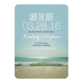 Modern beach wedding save the date cards personalized invitations
