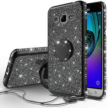 Samsung Galaxy J3,  Galaxy J3 V Case, Glitter Cute Phone Case Girls with Kickstand,Bling Diamond Rhinestone Bumper Ring Stand Sparkly Luxury Clear Thin Soft Protective Samsung Galaxy J3 Case for Girl Women - Black