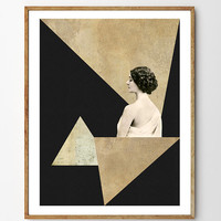 Mirage - Art Deco, Mixed Media Collage Art, Vintage Photo Woman, Geometric Print, Geometry, Vintage Art, Minimalist Art, Home Decor