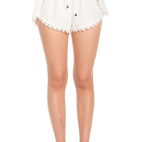 Crochet Scalloped Shorts White
