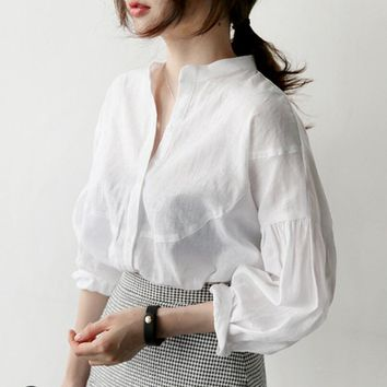 New Style Simple Stand Collar Blouse Fashion Women Clothing Lantern Sleeve All Matched Loose Cotton And Linen Top