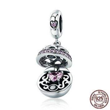 925 Sterling Silver Love Gift Box Dangle Ball Charm Pendant