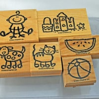 Stampin' Up Stamp Set, Crayon Kids 2003,  Long Retired - Gently Used So Savings Priced