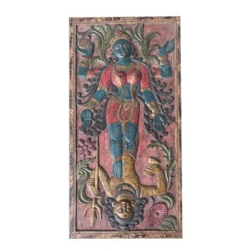 Antique Indian Maa Kali Shakti Kundalini Hand Carved Goddess Protector Door Panel