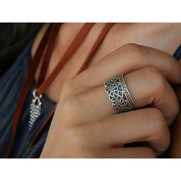 Silver Lace Ring, Silver Crown Ring