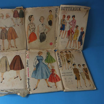 50s Vintage Sewing Patterns / Lot of 6 / shift dress / jumper / Bandstand Skirt / blouse / Jacket / pencil skirt / A-line Dress and more