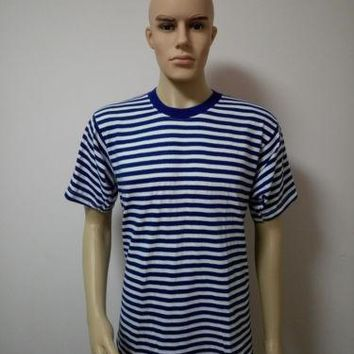 Marine Navy Striped  Telnyashka Sailor T-shirt Short Sleeve T-shirt